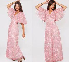 Vintage 70s FLORAL Maxi Dress Butterfly Sleeve Boho Dress by LotusvintageNY