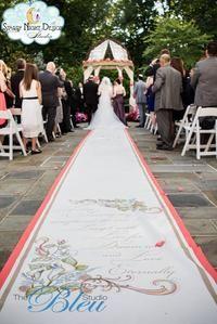 Beautiful hand painted artwork can emphasize a theme for a Fall wedding aisle runner #fallaislerunners, #weddingaislerunners