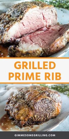 Grilled Prime Rib is so easy to make! It starts with a quick and easy homemade rub and then is grilled so it has the perfect crust and tender, juicy perfectly cooked center. It's perfect for your holiday dinners! Grilled Prime Rib, Boneless Prime Rib Roast, Prime Rib Steak, Grilled Roast, Prime Rib Rub, Rib Roast On Grill, Pot Roast Brisket, Ribs On Grill, Beef Tenderloin