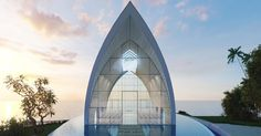 Take your wedding to new heights at Tresna Chapel, towering majestically above the ocean. This dramatically illuminated chapel accommodates up to 80 guests; a perfect venue for an intimate wedding ceremony Church Architecture, Landscape Architecture, Architecture Design, Church Interior Design, Church Design, Bali Wedding, Chapel Wedding, Best Wedding Venues, Ayana Resort Bali