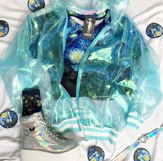 Rainbow holographic jacket If you are not a size small, the jacket will rip. The material is very thin and fragile. This item must be worn as a loose fit. Kawaii Fashion, Cute Fashion, Princesa Punk, Ropa Color Pastel, Holographic Jacket, Mode Outfits, Fashion Outfits, Kawaii Clothes, Character Outfits