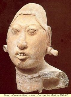 Ancient Mexico - the Maya: Ceramic head.Jaina island,Campeche