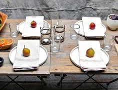 Lovely modern table, from Spartan, Austin, Texas.Figs, apples, pears would do...
