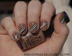 Stripes on a slant nails