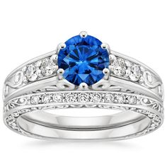 18K White Gold Sapphire Art Deco Filigree Diamond Ring with Contoured Delicate Antique Scroll Ring