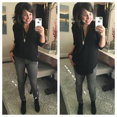 Outfit Ideas with Black and Grey Jeans !