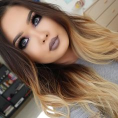 Ombre brown hair with blonde ombre, white blonde, ombre hair color, Flawless Makeup, Gorgeous Makeup, Love Makeup, Makeup Tips, Beauty Makeup, Makeup Looks, Hair Beauty, Fall Makeup, Pretty Makeup