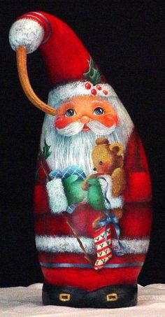 Special Delivery - Hand Painted Santa Gourd by SAburns