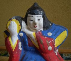 Japanese Folk Art Clay Doll of Man with a Traditional Drum