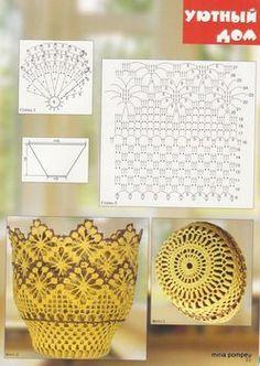 Crochet Vases and lamp shades - diamondinapril - Picasa Web Albums Crochet Vase, Crochet Gifts, Crochet Motif, Crochet Doilies, Crochet Flowers, Crochet Stitches Patterns, Crochet Designs, Crochet Jar Covers, Crochet Decoration