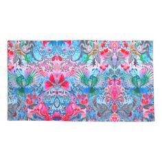 Vintage luxury floral garden blue bird lux pattern pillowcase