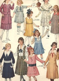 Girls' fashions from Butterick Quarterly, Spring 1918.