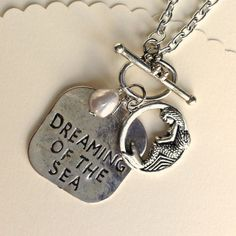 DREAMING of the SEA necklace (on a long chain). From my favorite vendor. Stamped Jewelry, Metal Jewelry, Jewelry Box, Jewelry Accessories, Handmade Jewelry, Jewelry Necklaces, Jewelry Design, Jewelry Making, Feet Jewelry