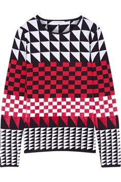 Altuzarra - Shiner Paneled Jacquard-knit Sweater - Crimson - x large