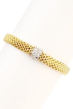 Italian Mesh Diamond Cut Stretch Bracelet by Bracelets by Savvy Cie on @HauteLook