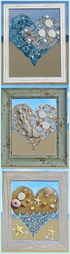 Unique beach window art by Luminosities! Made of sea glass, shells, gems, sand dollars, starfish, mermaid, wave, ocean scenes.