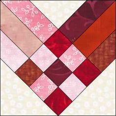 """Barbara Brackman Heart quilt. Jelly roll friendly. Uses 2.5"""" strips - block finishes @11.5"""" - this would make such a cute Valentine quilt!"""
