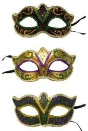 Bags are an assortment of the Mardi Gras colors and styles pictured. They have silk ribbon tie strings. Paper Mache Mask, Eye Masks, Masquerade Party, Silk Ribbon, Fashion Pictures, Mardi Gras, Green And Gold, Purple, Color
