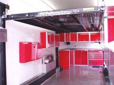 inside race car trailer