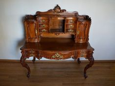 Stunning Antique French Baroque Carved Writing Desk Secretary - Home Page Victorian Furniture, Furniture Styles, Rustic Furniture, Antique Furniture, Furniture Design, Danish Furniture, Classic Furniture, White Furniture, Mission Furniture