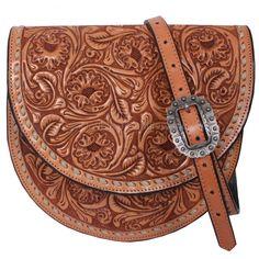 Natural Hand-Tooled Saddle Bag - SB10