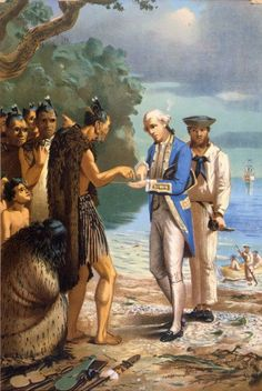 Louis John Steele 1843-1918: Arrival of Captain Cook; an incident at Bay of Islands