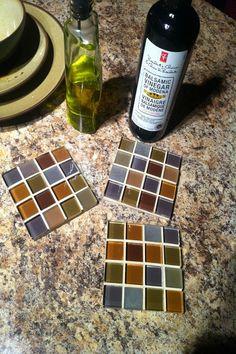 Coasters made from left-over tile sheets when our backsplash was installed. How To Make Coasters, Diy Coasters, Tile Projects, Diy Projects To Try, Indoor Crafts, Vbs Crafts, Ceramic Tile Crafts, Leftover Tile, Diy Flooring