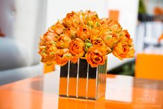 Planned, Designed & Produced by www.swankproductions.com orange capital #swankproductions #corporateparty #620loftandgarden #chic #party #eventplanner #bestofthebest #nyc #reception #colorful #decor #lounge #fun #flowers #tableware #centerpieces #gold #orange #ranunculus #ideas #inspiration #beautiful #rooftop