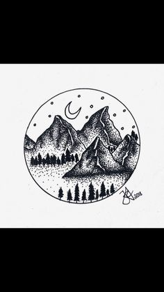 mountains stipple art