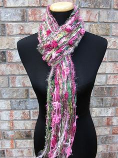 Here's another of our scarves. Our Skinny Pink and Green Scrappy Scarf makes a great gift for someone special or for yourself!