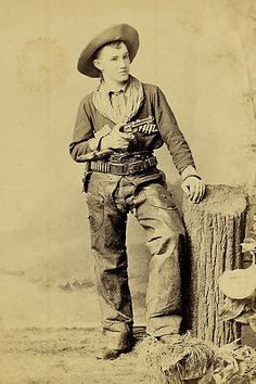 Peter Bogardus, of the famed Wild West show sharpshooting family, with his 1888 Remington pistol with wood grips.
