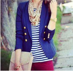 navy look blazer azul Sailor Fashion, Teen Fashion, Fashion Outfits, Womens Fashion, Curvy Fashion, Fashion Tips, Fashion Trends, Penny Pincher Fashion, Look Blazer