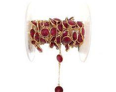 Ruby Beads - Ruby Bead Chain - Bezel Chain - Semi Gemstone Bead Chain - Ruby Bezel Bazari Gold Plated Bezel Chain - Ruby - Natural Ruby
