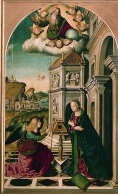 Marco Palmezzano-Annunciazione,1490-1499,olio su tavola,280 x 175 cm,Musei Vaticani,Roma
