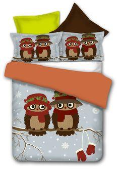 Szara pościel zimowa do łóżka dla dziecka z dwiema sowami