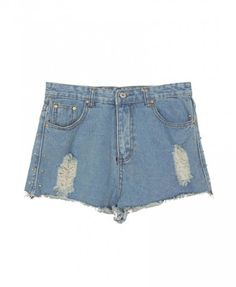 Oversized Distressed Denim Shorts with Spike Embellishment and Raw Cuffs