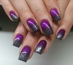 Purple gray glitter ombre
