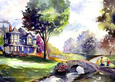 Old Farm House Watercolor Landscape Art. by MichaelDavidSorensen