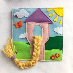 """Rapunzel Quiet Book Page NEW! """"Rapunzel"""" Custom Quiet Book Page- A Single Page to Expand or Create your… Diy Quiet Books, Baby Quiet Book, Felt Quiet Books, Quiet Book Templates, Quiet Book Patterns, Rapunzel, New Birthday Cake, Birthday Book, Personalized Books"""
