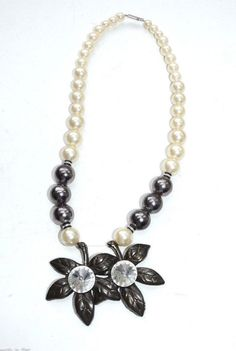 vintage chunky flower necklace rhinestone pearl black white #Unbranded #StrandString