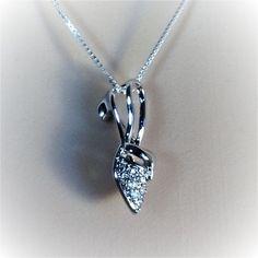 "Sterling Silver Clear CZ Lady Shoe Pendant Necklace, 18"""