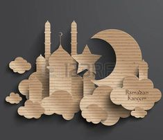 Ramadan Kareem Stock Photos And Images - Obst Eid Crafts, Ramadan Crafts, Diy And Crafts, Crafts For Kids, Paper Crafts, Islamic Decor, Islamic Art, Bolo Panda, Decoraciones Ramadan