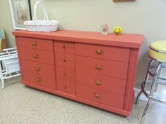 Annie Sloan coral on an awesome Mengel mid-century dresser
