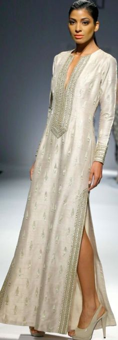 White kurta with silver embroidery