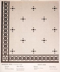 Early mosaic floor tile pattern from American Encaustic tile catalog. Early mosaic floor tile pattern from American Encaustic tile catalog. Hex Tile, Penny Tile, Mosaic Tiles, Cement Tiles, Mosaic Floors, Tiled Floors, Floor Patterns, Tile Patterns, Vintage Laundry