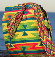 Blue, Yellow, Green Multi Colour Design - Shoulder Bag - Handmade - One of a Kind - 100% Cotton