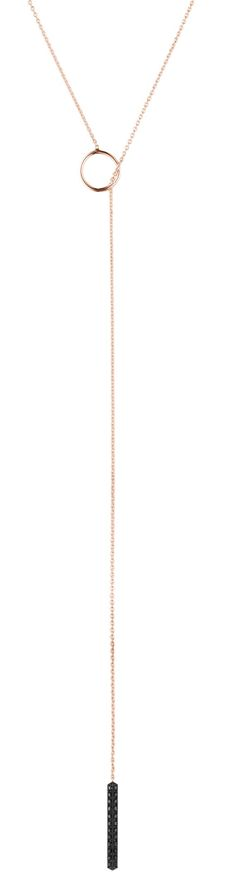Visibly Interesting: Stunning minimalist lariat necklace featuring a 14K Rose Gold chain finished with a three-sided Black Diamond pendant charm. This piece was created by Selin Kent, known for her understated yet edgy fine jewelry styles.