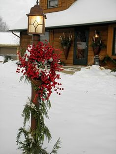 garland floral arrangement for outdoor lamp post - Google Search