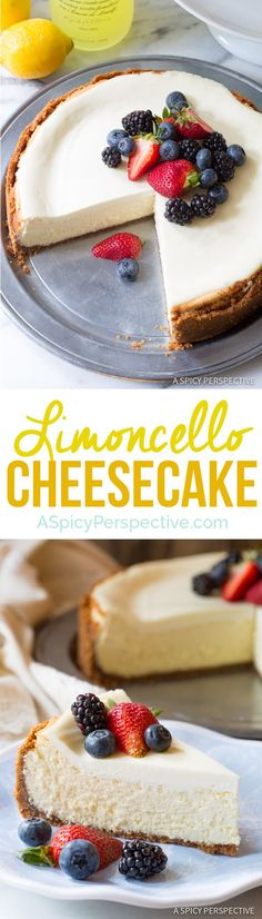 Limoncello Cheesecake with Biscoff Crust - A fabulous silky cheesecake recipe with a boozy lemon essence and crisp salty-sweet biscoff cookie crust. Summer Desserts, Sweet Desserts, Easy Desserts, Sweet Recipes, Delicious Desserts, Dessert Recipes, Lemon Desserts, Gateaux Cake, Cheesecake Recipes