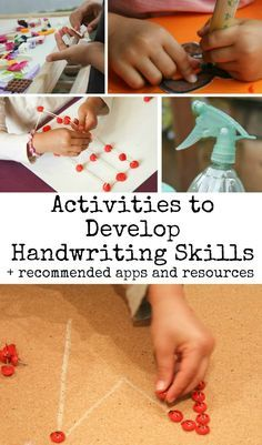 Activities to develop handwriting skills, plus recommended apps and resources for students with emerging writing skills. Great fine motor strengthening tasks that are engaging and easy to set up. Just think of all the ways you could incoprporate that sp Preschool Writing, Preschool Learning, Early Learning, In Kindergarten, Fun Learning, Preschool Activities, Preschool Centers, Therapy Activities, Improve Your Handwriting